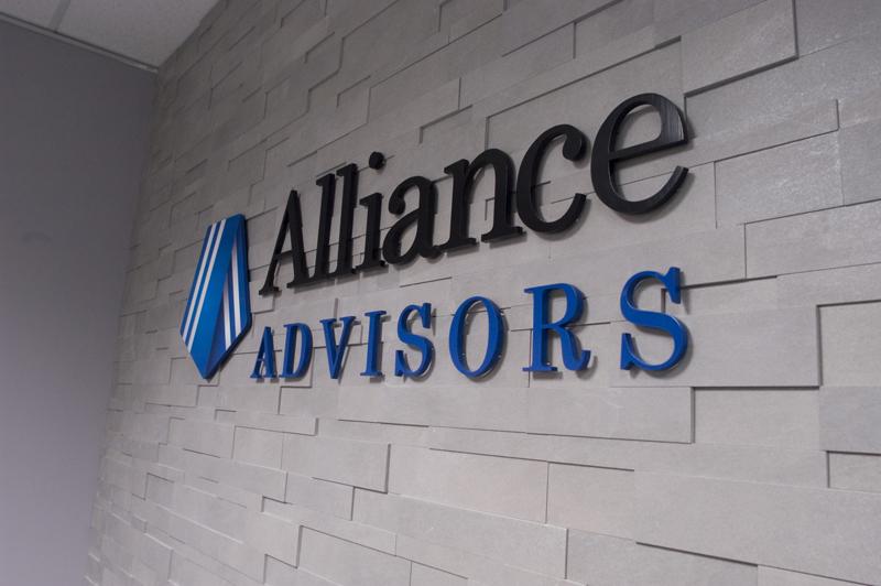 3D Cast Metal Logo in Alliance Advisors Reception Area